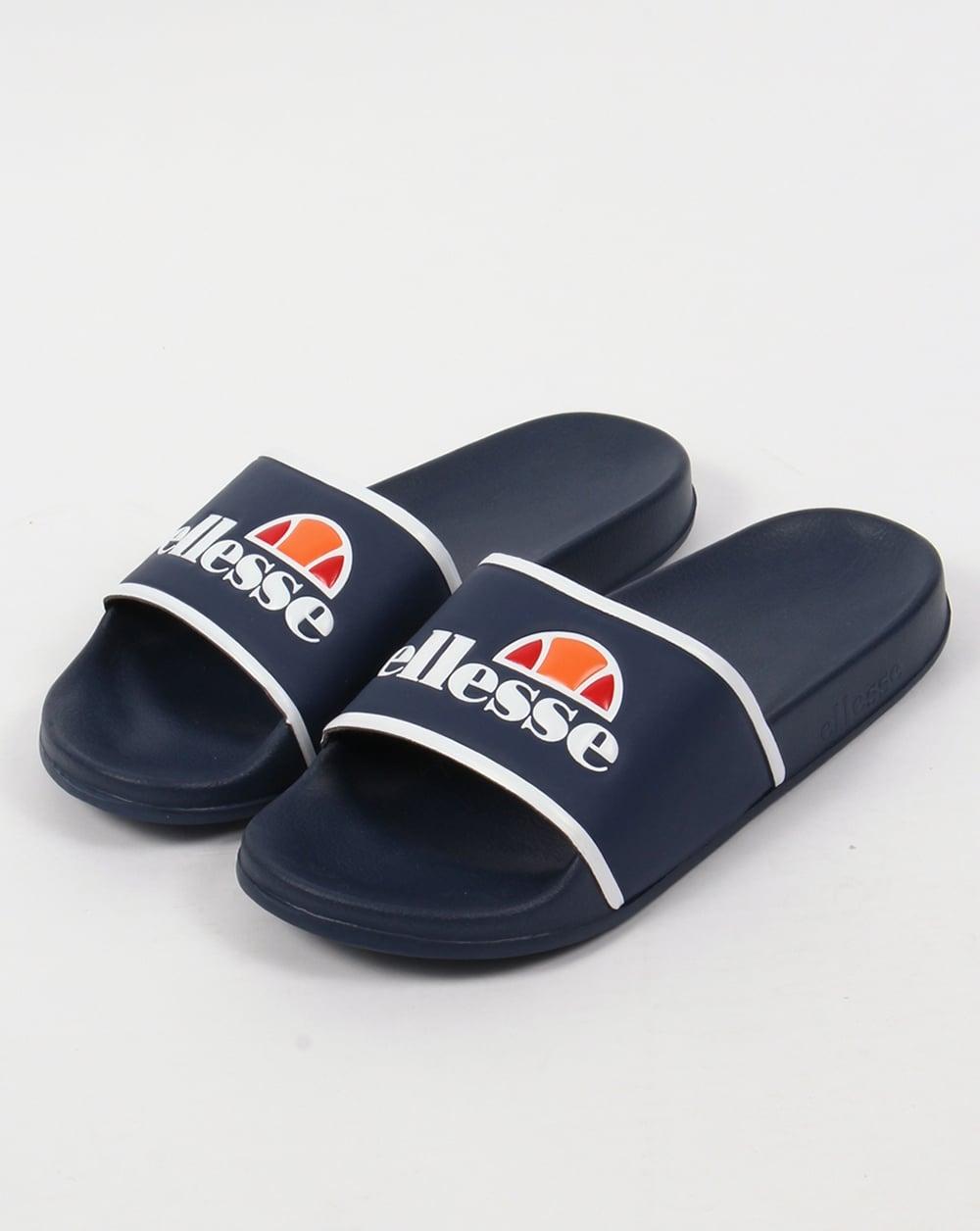 Ellesse Fillipo Sliders Navy White Sandals Pool Flip Flops