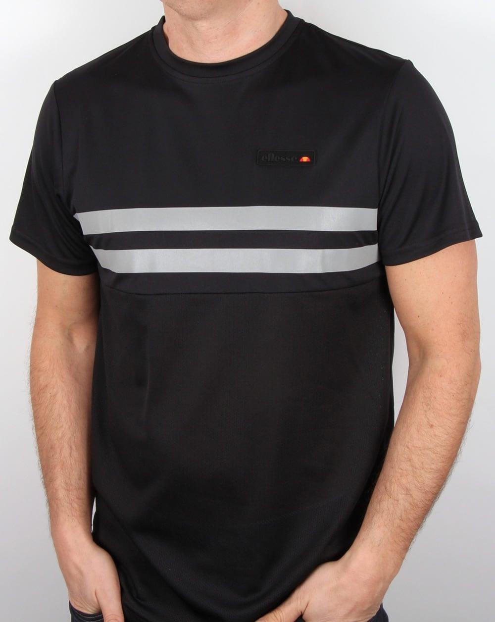 ellesse solar t shirt black tee crew neck performance mens. Black Bedroom Furniture Sets. Home Design Ideas