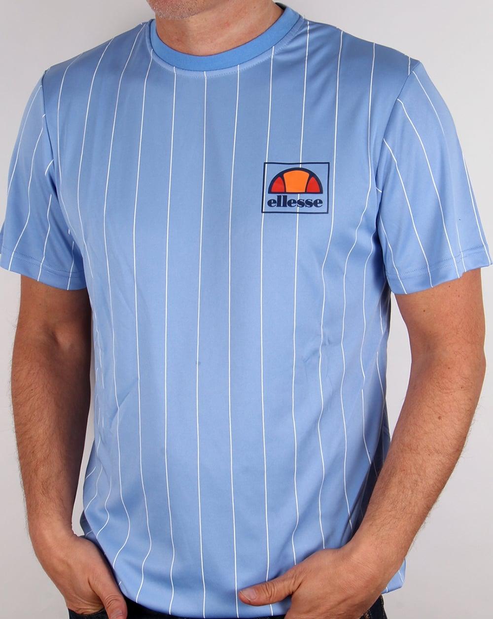 ellesse salento striped t shirt sky blue football tee mens. Black Bedroom Furniture Sets. Home Design Ideas