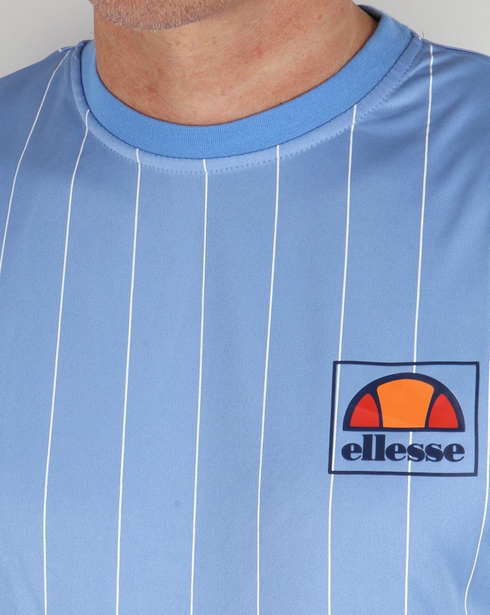 ellesse salento striped t shirt sky blue football tee mens crew neck. Black Bedroom Furniture Sets. Home Design Ideas