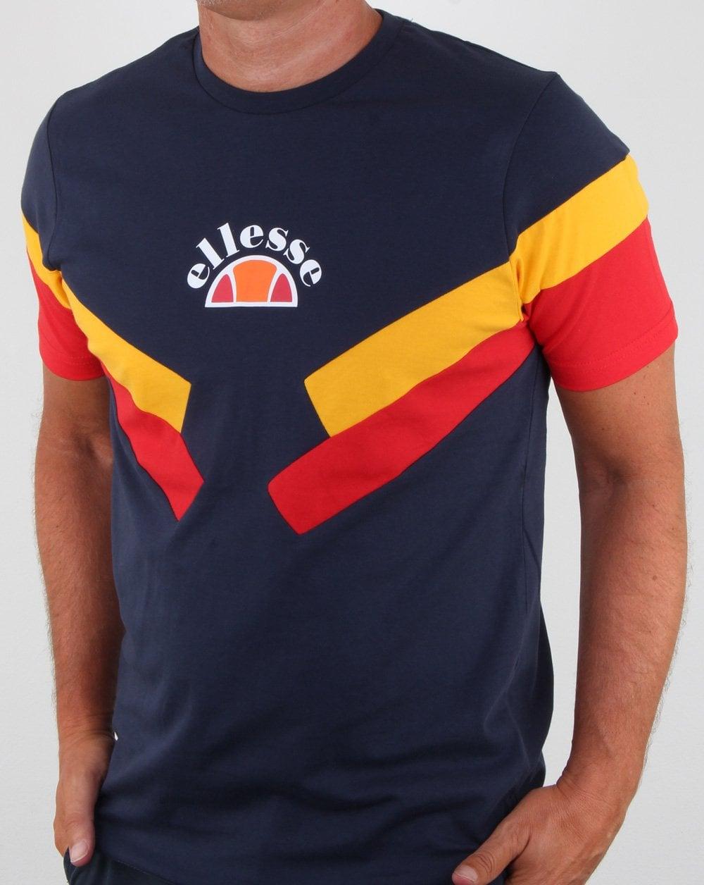 91a8e86a9f Ellesse Terria T Shirt Navy/citrus/red