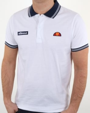 Ellesse Tipped Polo Shirt White-Navy