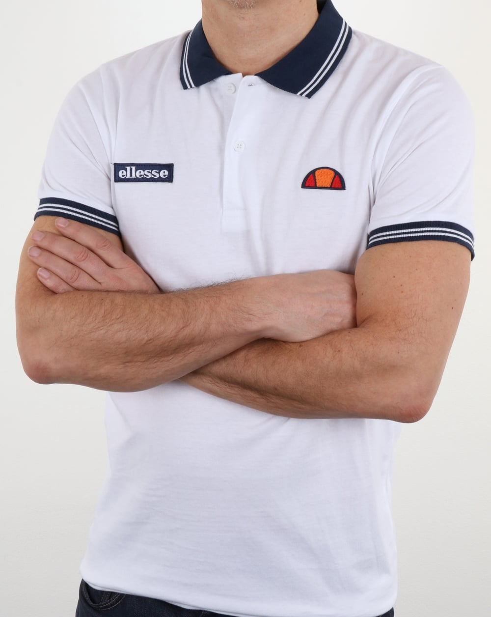 6a7289c246 Ellesse Tipped Polo Shirt White-Navy