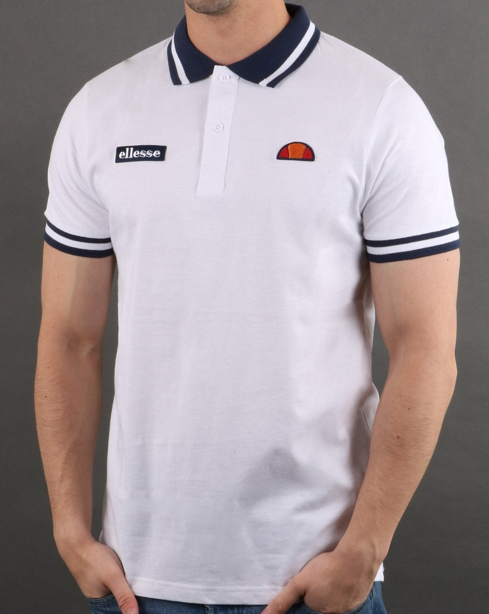 383d54695d Ellesse Tipped Polo Shirt in White | 80s Casual Classics