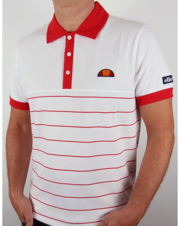 Ellesse Torre Premium Polo Shirt White/red