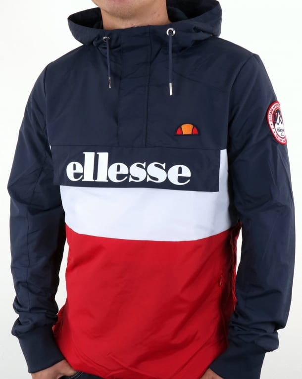 Ellesse Tri Color Overhead Jacket Navy-White-Red