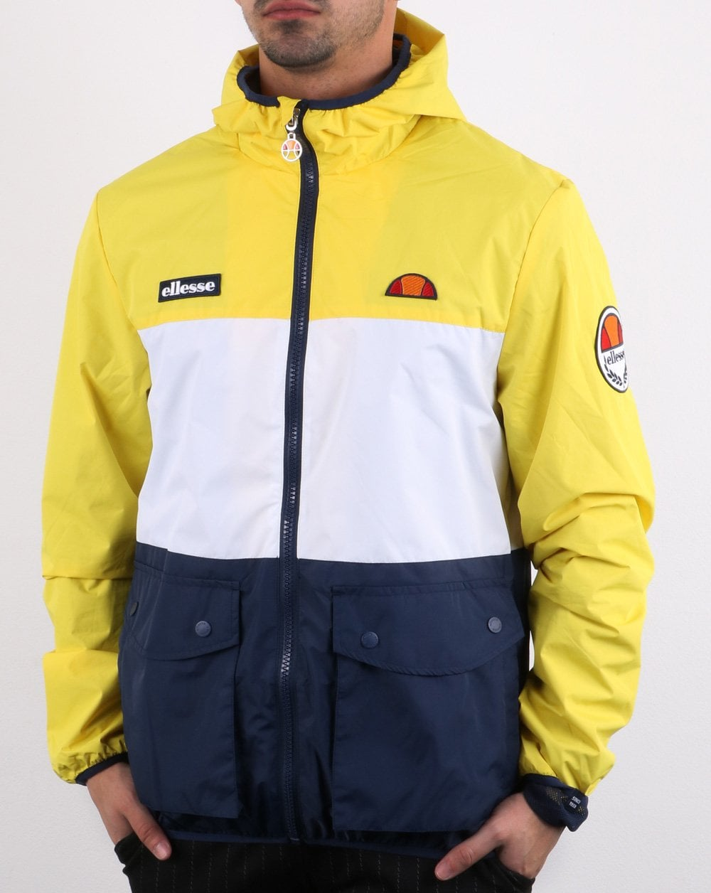 best value hoard as a rare commodity most fashionable Ellesse Triple Jacket Yellow White Navy