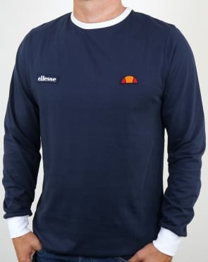 Ellesse Twin badge Long Sleeve Ringer T Shirt Navy