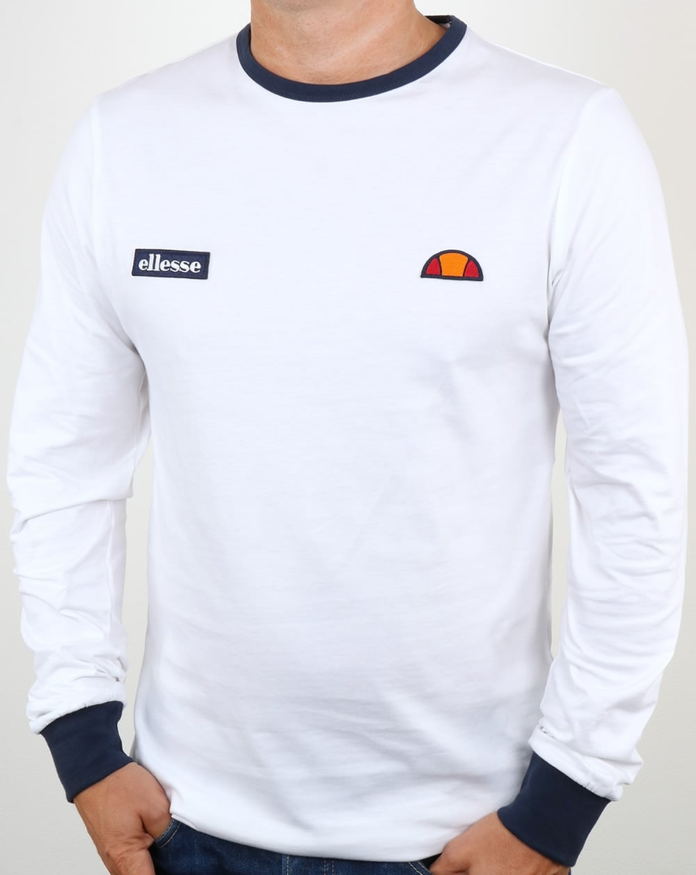 bbd7ede1a6 Ellesse Twin Badge Long Sleeve Ringer T Shirt White