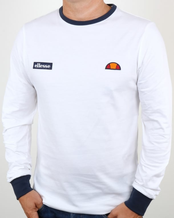 Ellesse Twin Badge Long Sleeve Ringer T Shirt White