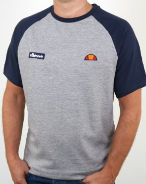 Ellesse Twin Logo T Shirt Athletic Grey/Navy