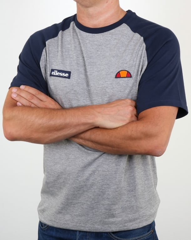 Ellesse Twin Logo T Shirt Athletic Grey/Navy