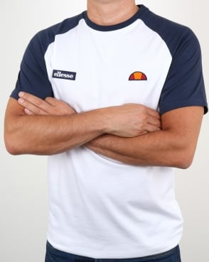 Ellesse Twin Logo T Shirt White/Navy