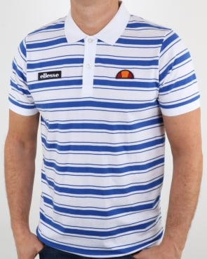 Ellesse White Blue Striped Polo Shirt