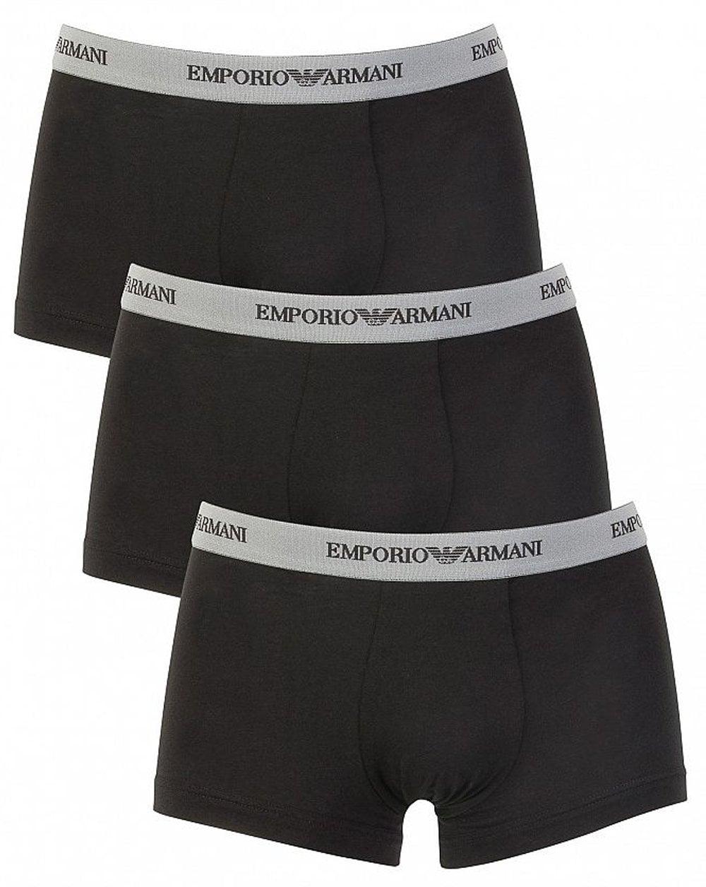 cea7e378dfb4 Emporio Armani Triple Pack Boxer Shorts in Black | 80s Casual Classics
