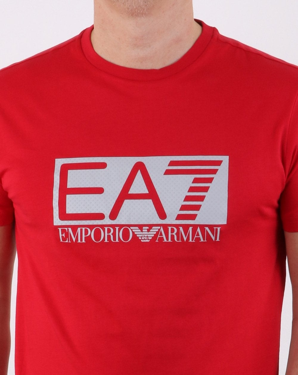 6198862c EA7 Box Logo T Shirt in Red | 80s Casual Classics