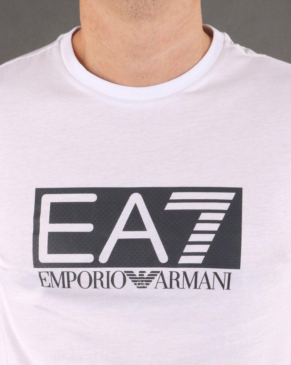 cf7ac2b2e EA7 Box Logo T Shirt in White | 80s Casual Classics