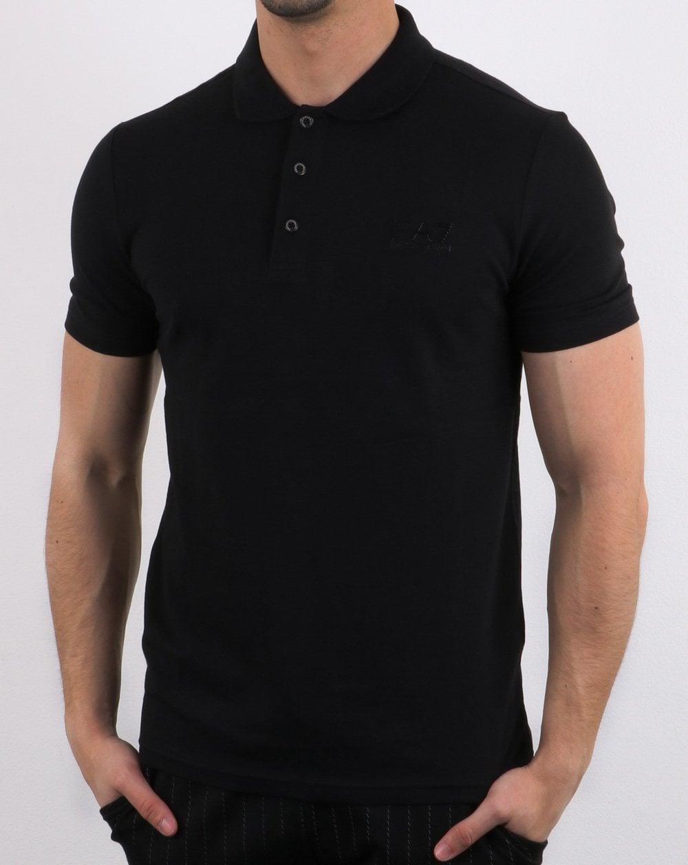 jetzt kaufen preisreduziert verkauft Emporio Armani EA7 Core Logo Pique Polo Shirt Black
