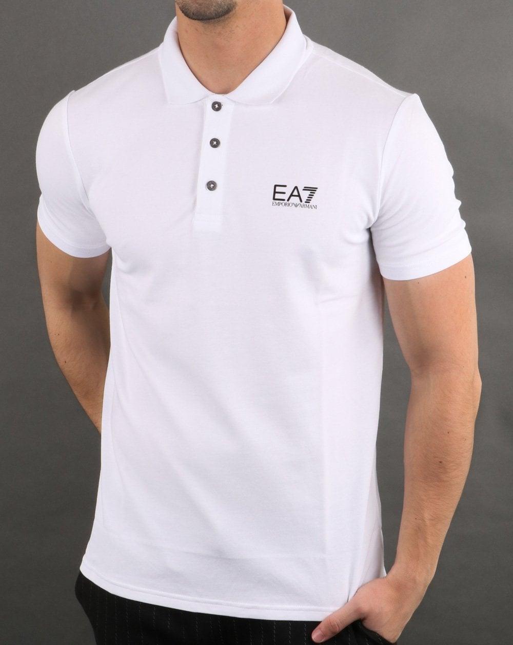 durable in use new style first look Emporio Armani EA7 Core Logo Pique Polo Shirt White