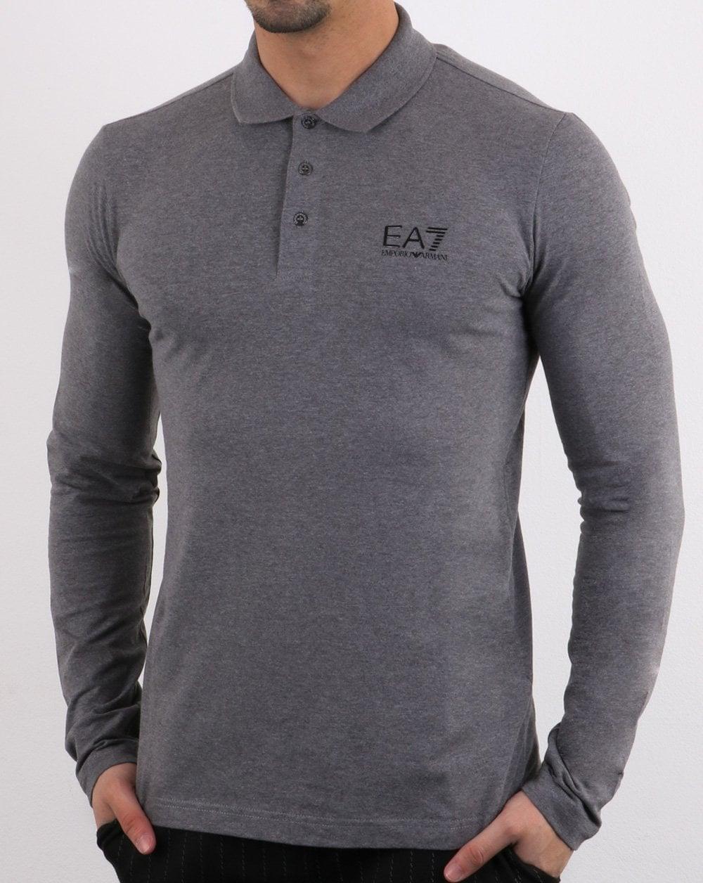 9f7d9d3b Emporio Armani EA7 Long Sleeve Polo Shirt Dark Grey