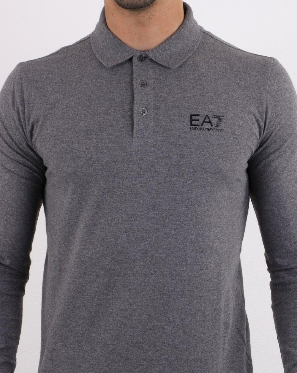 10236818 EA7 Long Sleeve Polo Shirt in Dark Grey | 80s Casual Classics