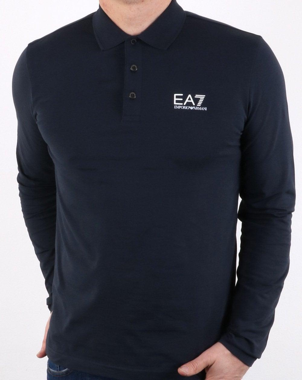 d84bb9f0 Armani Jeans Navy Long Sleeve Pique Polo Shirt