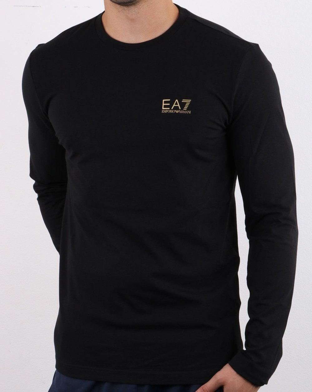 Shop für Beamte Genieße den kostenlosen Versand Wählen Sie für neueste Emporio Armani EA7 Long Sleeve T-shirt Black/Gold