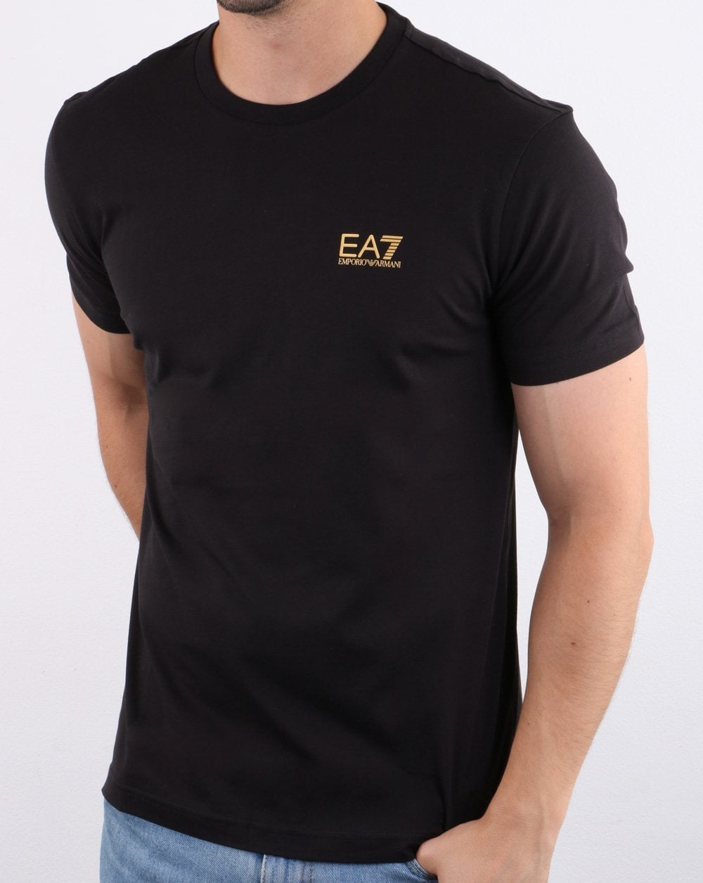 100% quality top quality new style Emporio Armani EA7 T-shirt Black/gold