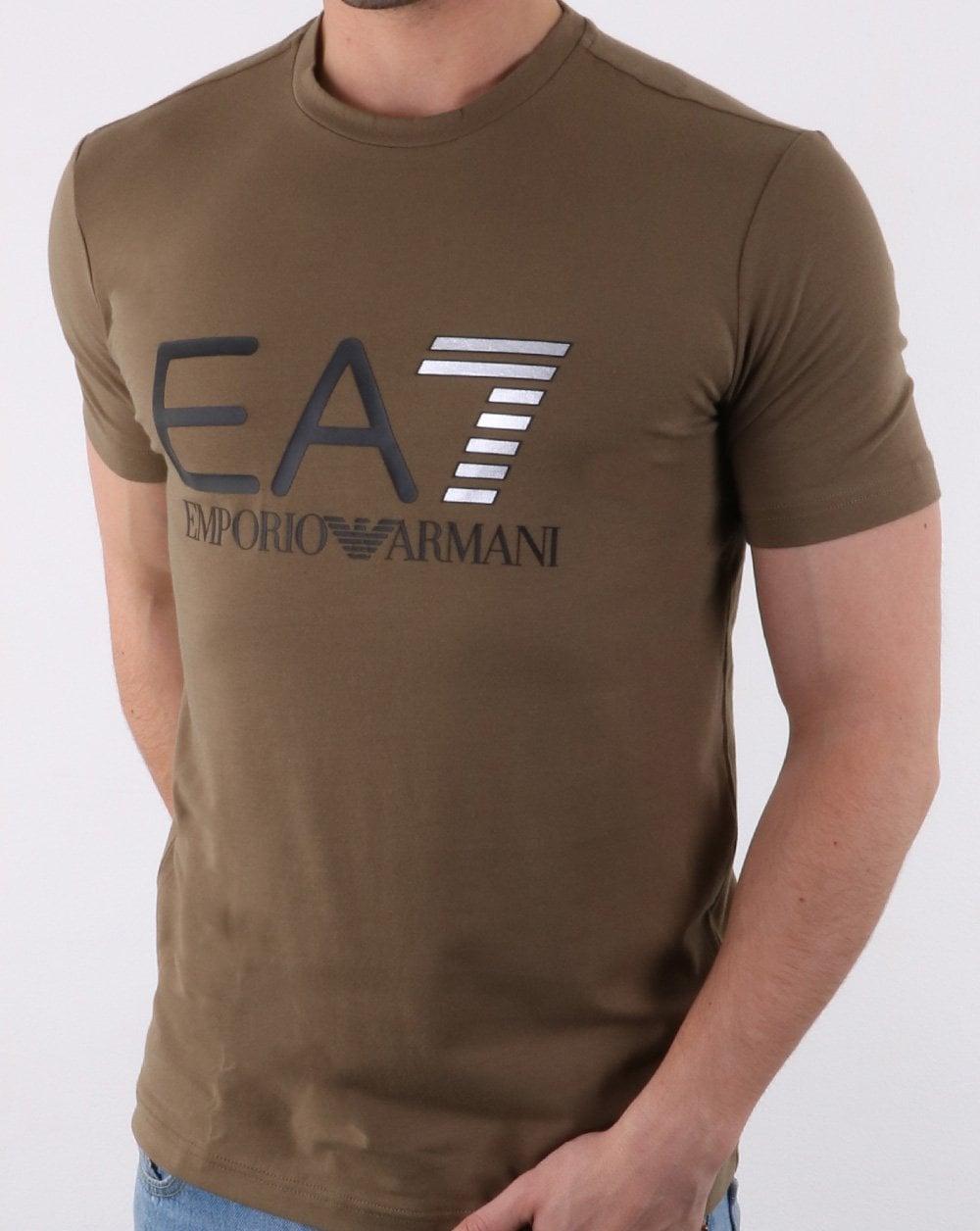219c90f9a Emporio Armani EA7 Train Logo Series M Multicol Logo Tee Khaki Green