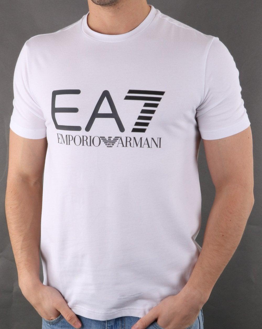 56db1060c Hombre Emporio Armani EA7 Ea7 Train Logo Series M Multicol Logo tee White
