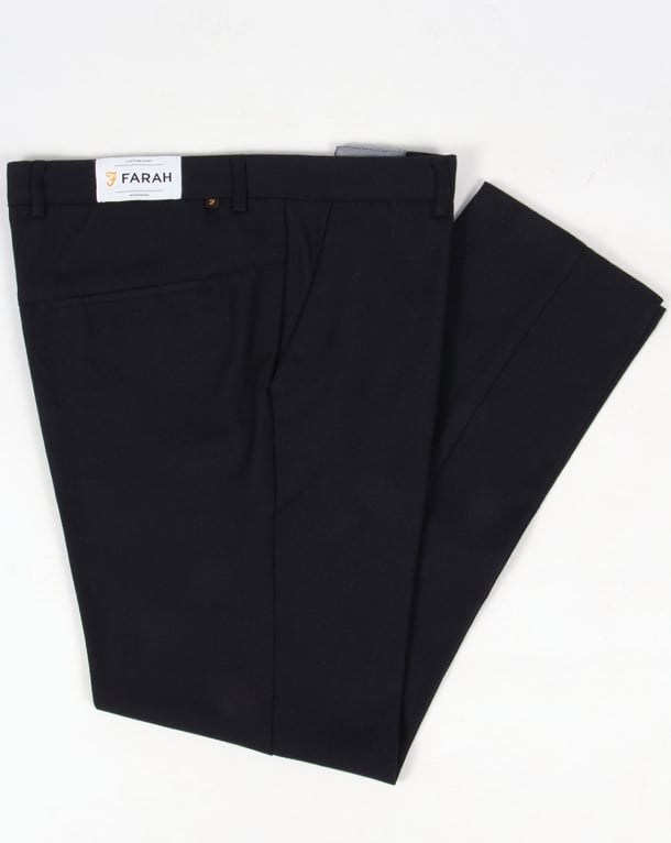 Farah 80s Classic Hopsack Trousers Navy