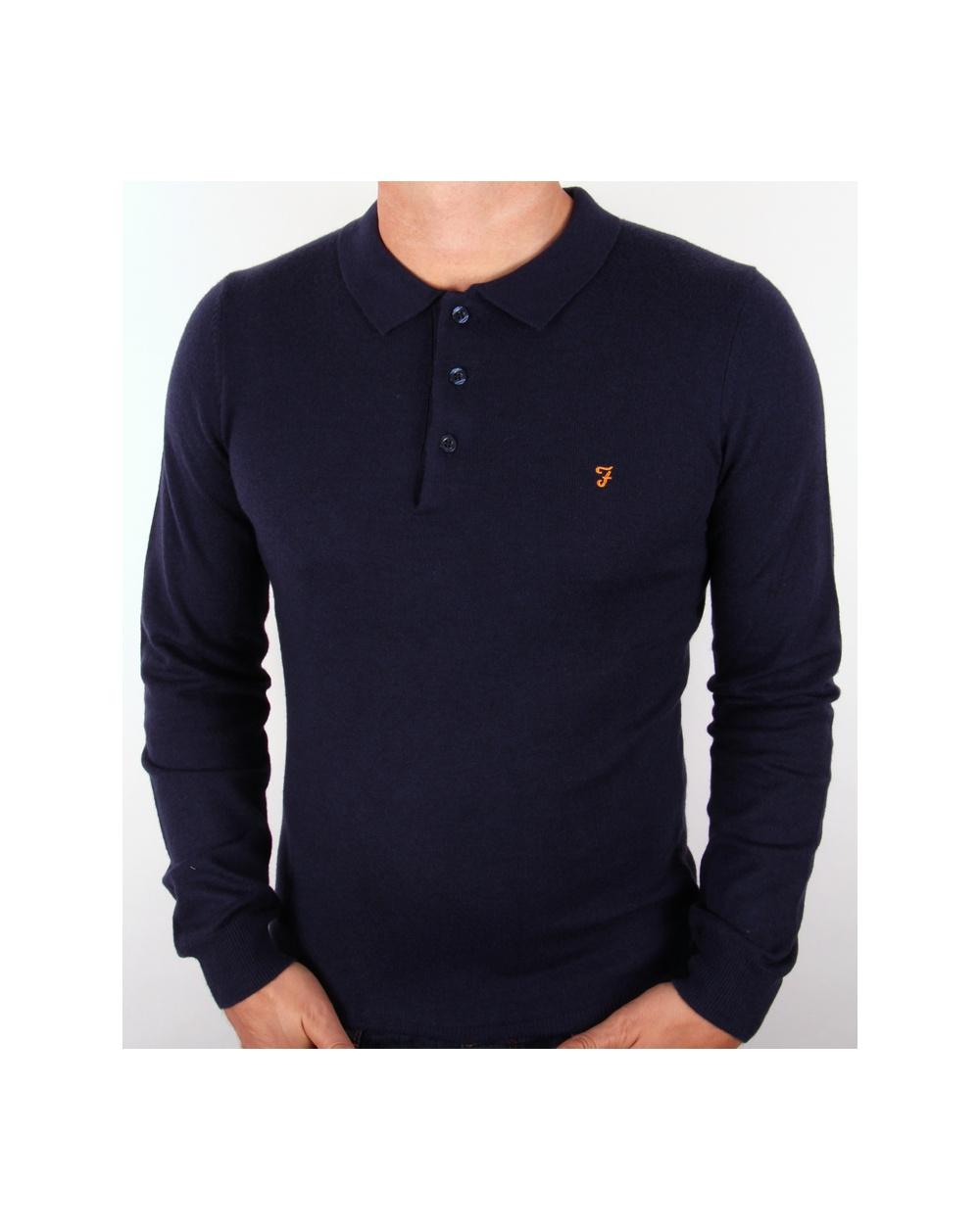 45e9f481 Farah Affery Knitted Polo Shirt Navy Blue