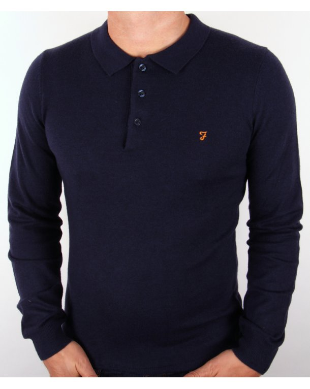 Farah Affery Knitted Polo Shirt Navy Blue