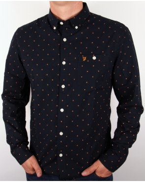 Farah Albyn Slim Fit Shirt Navy