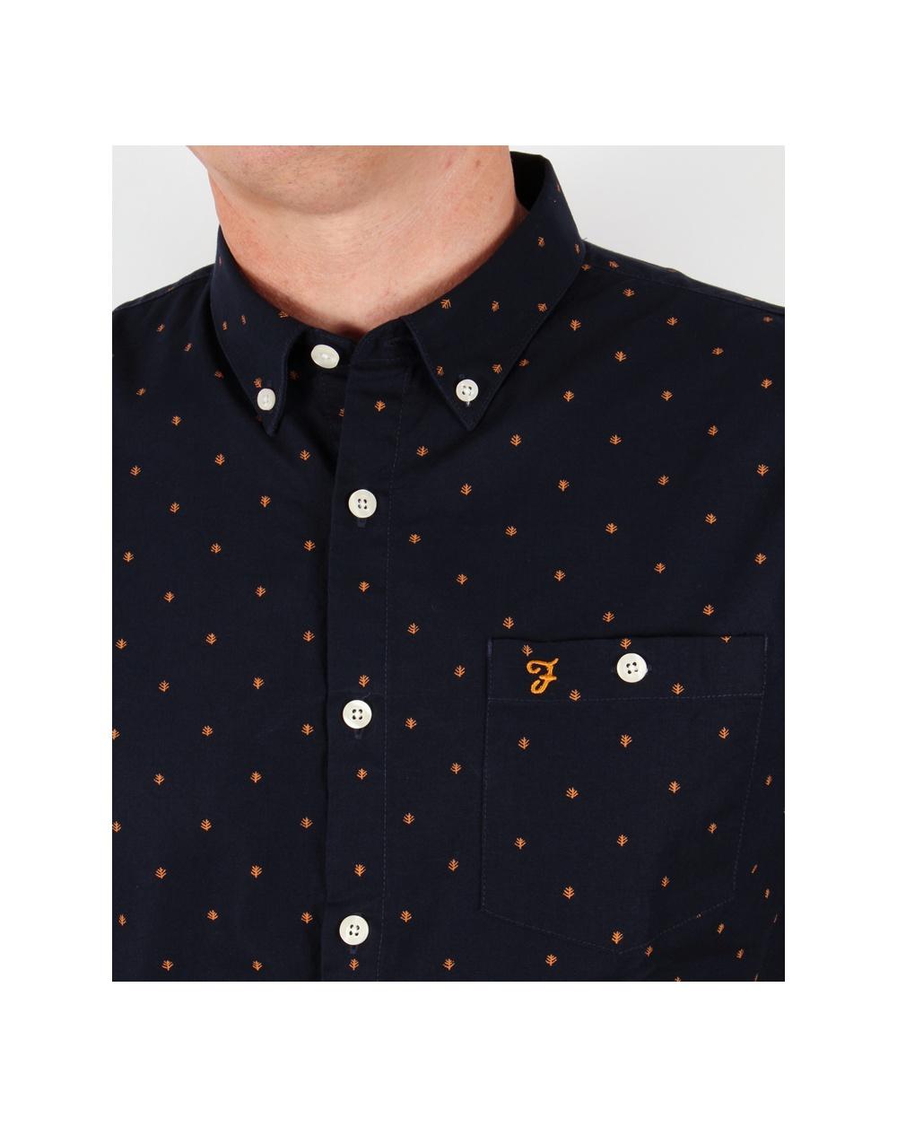 Farah Albyn Slim Fit Shirt Navy Cotton Button Down Collar Mens