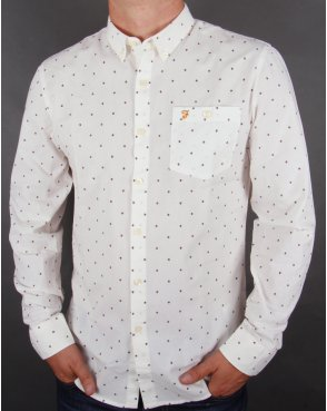 Farah Albyn Slim Fit Shirt Off White/wine