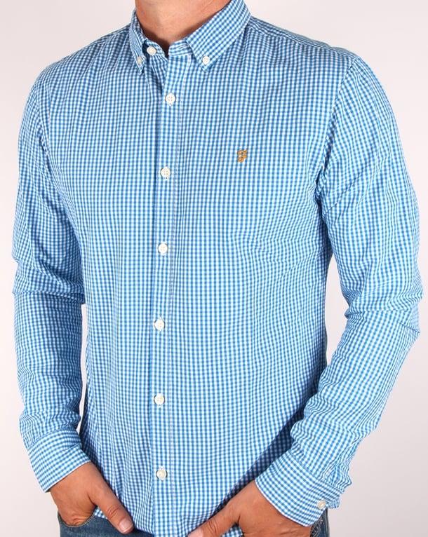 Farah Argyle Shirt Sierra Blue