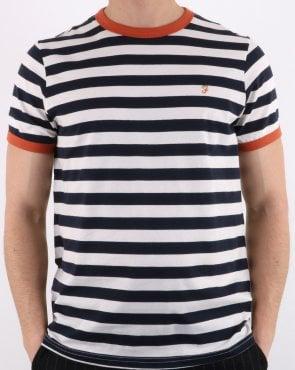 c622f16f00dc4b Farah Denny Long Sleeve Logo T-shirt Navy,cotton,mens,crew neck