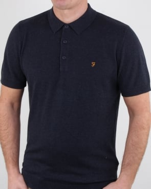 Farah Ben Knitted Polo Shirt Navy Marl