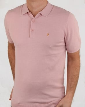 Farah Ben Knitted Polo Shirt Rose