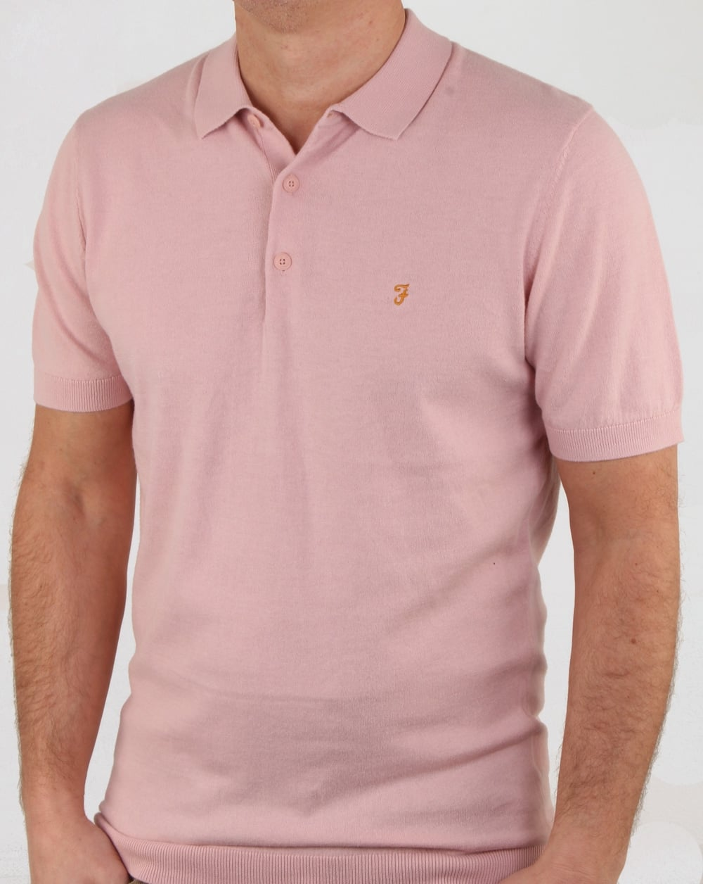 e843017a Farah Ben Knitted Polo Shirt Rose, Mens, Polo, Knitted