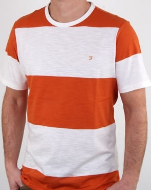 Farah Bold Stripe T Shirt Orange