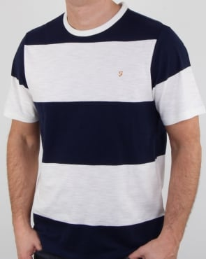 Farah Bold Stripe T Shirt White Navy
