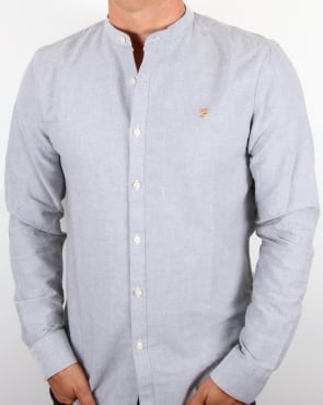 Farah Brewer Grandad Collar Shirt Anthracite