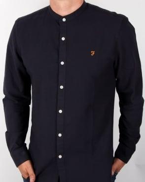 Farah Brewer Grandad Collar Shirt Navy
