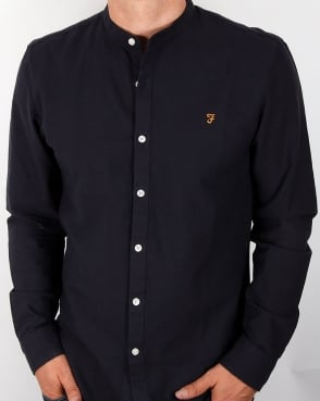 Farah Brewer Grandad Collar Shirt Navy