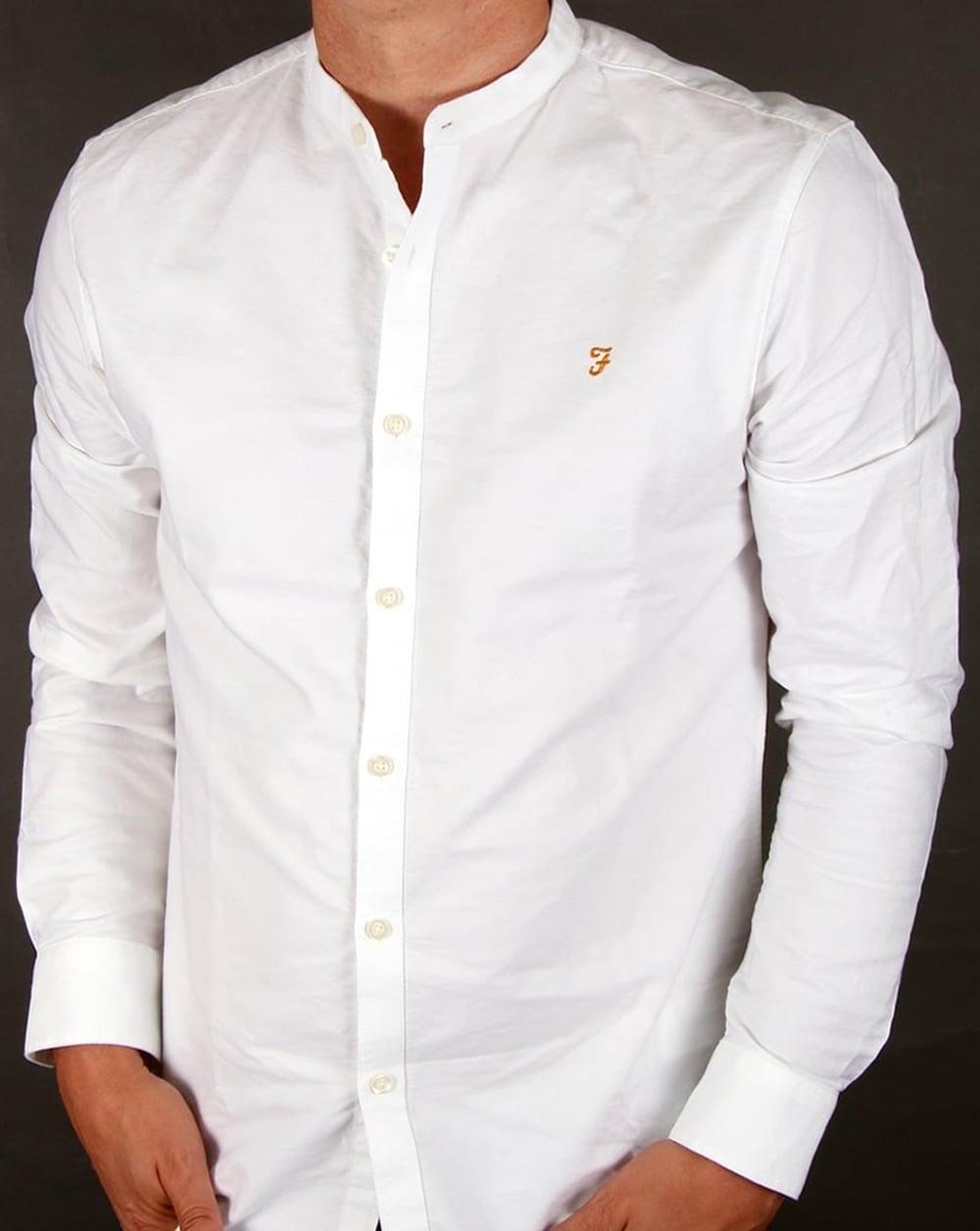 Farah Farah Brewer Grandad Collar Shirt White 5a258bc33
