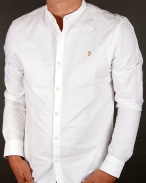 Farah Brewer Grandad Collar Shirt White