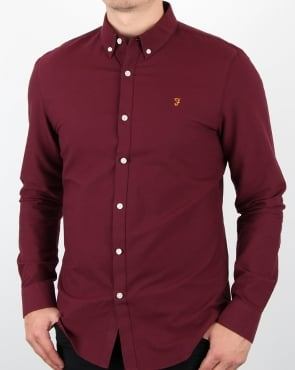 Farah Brewer Long Sleeve Shirt Burgundy