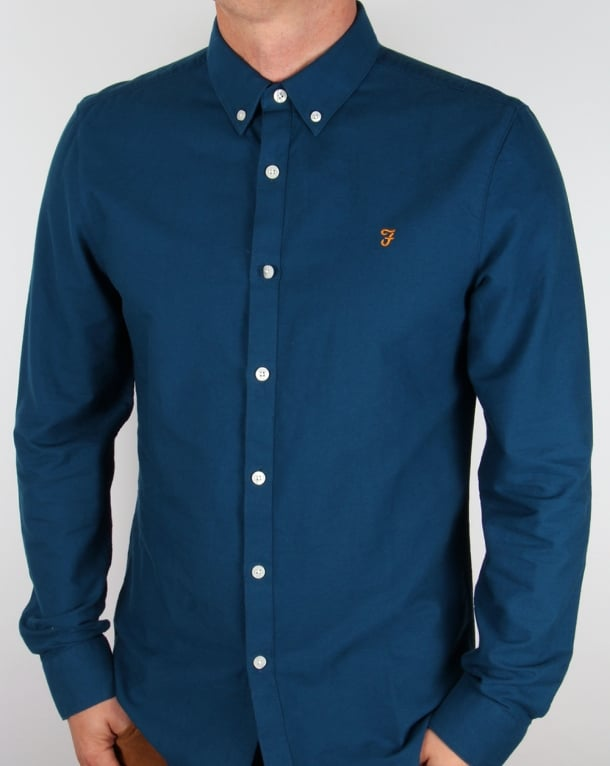 Farah Brewer Long Sleeve Shirt Poseidon